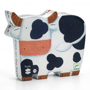 Boite de Puzzle Silhouette - 24 Pièces - Les Vaches à la Ferme