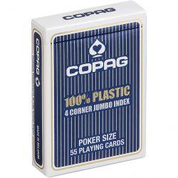Copag - 54 Cartes Poker 100% Plastic - Jumbo 4 Index - Bleu