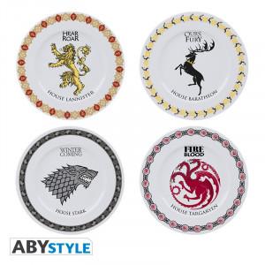 Boite de Game of thrones - Set de 4 Assiettes Emblèmes Familles