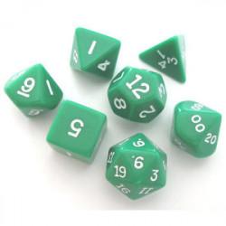 Set de 7 Dés - Opaque - Vert / Blanc (Chessex...