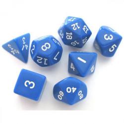 Set de 7 Dés - Opaque - Bleu / Blanc (Koplow)