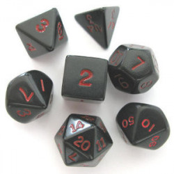 Set de 7 Dés - Opaque - Noir / Rouge (Chessex...