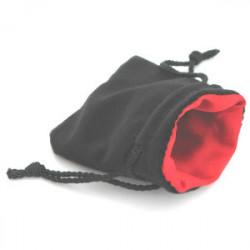 Bourse Petit Format - Velour Noir / Satin Rouge