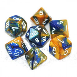 Set de 7 Dés - Gemini Bleu et Or (Chessex 26422)
