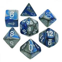 Set de 7 Dés - Gemini Bleu et Acier (Chessex...