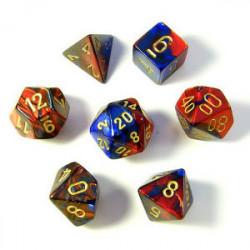 Set de 7 Dés - Gemini Bleu et Rouge (Chessex...