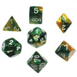 Set de 7 Dés - Gemini Or et Vert (Chessex 26425)