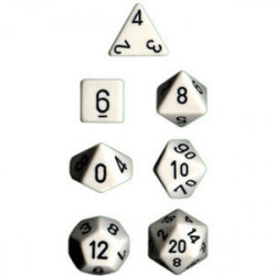 Set de 7 Dés - Opaque - Blanc / Noir (Chessex...