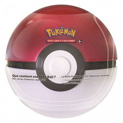 Boite Pokeball 3 Boosters + 1 Pièce - Rouge