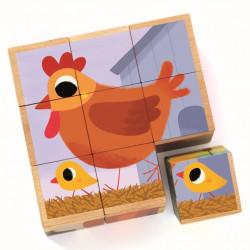 Piou Piou et Cie - Puzzle 9 Cubes en Bois